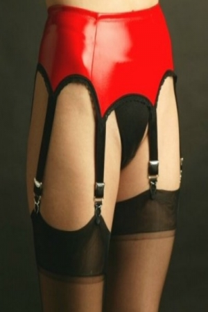NDL53  Red 6 strap PVC suspender belt*